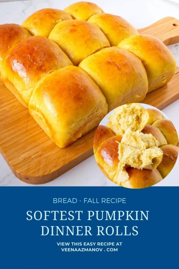 Pinterest image for dinner rolls with pumpkin puree.