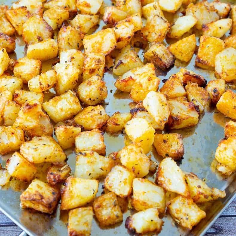roasted potatoes on a baking tray