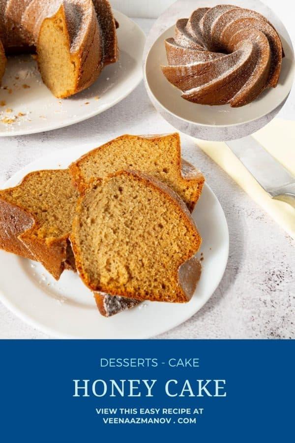 Pinterest image for honey cakes recipe.