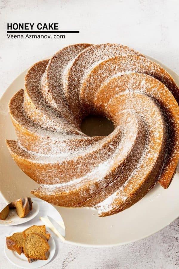 A honey bundt cake on a plate.