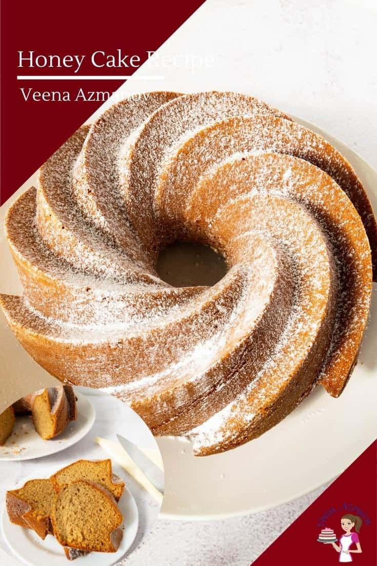 A honey bundt cake on a plate