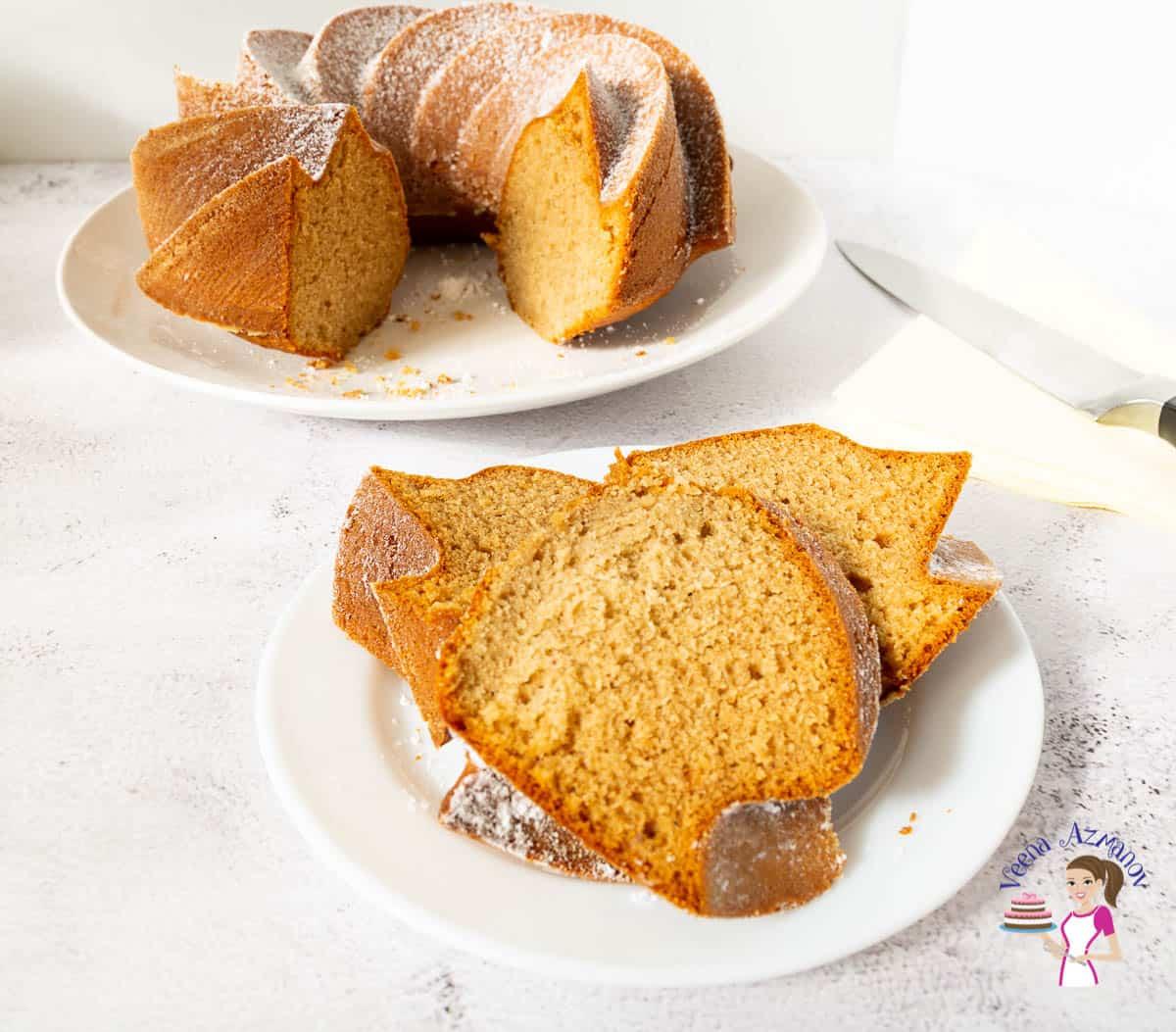 A slice of bundt cake on a plate.