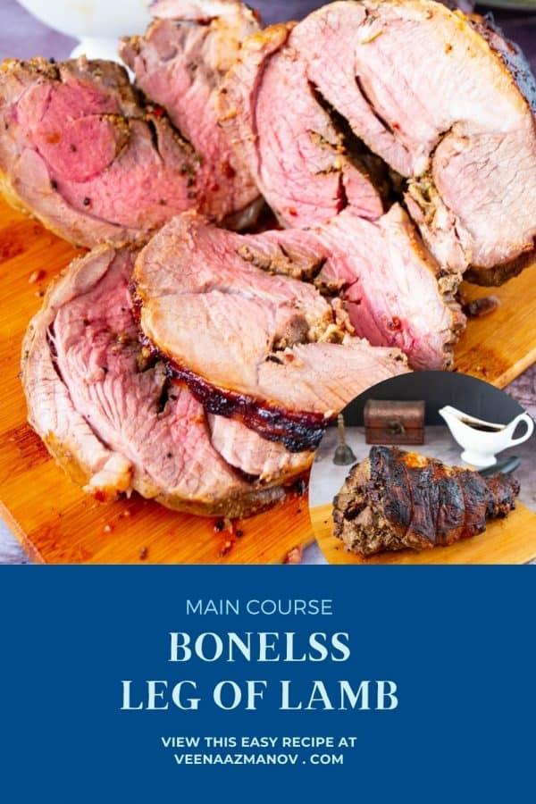 Pinterest image for boneless leg of lamb.
