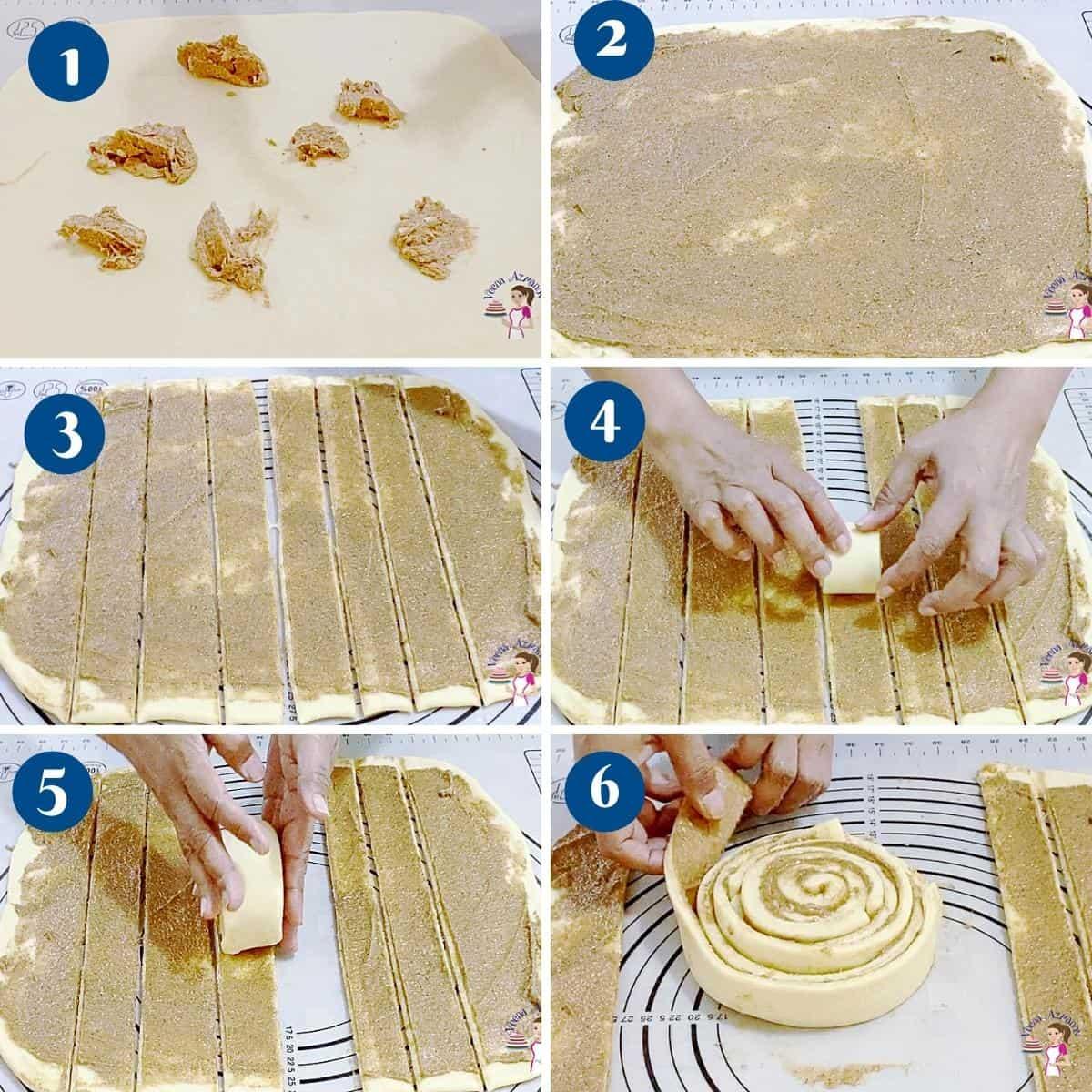 Progress pictures collage spreading the cinnamon sugar.