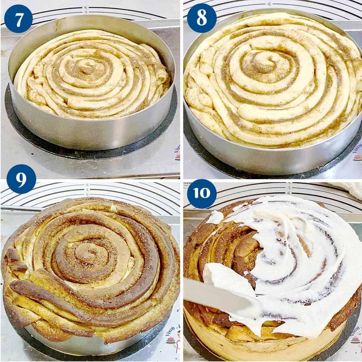 Progress pictures collage baking the large cinnamon roll giant size.