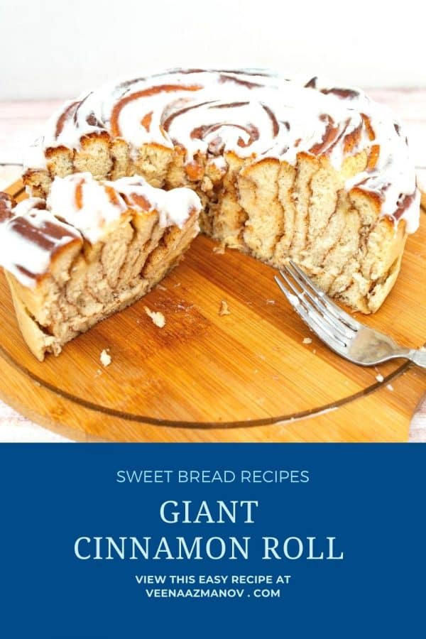 Pinterest image for cinnamon roll cake.