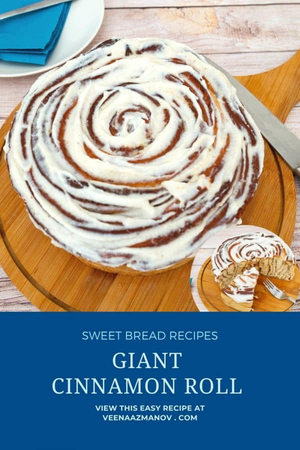 Pinterest image for large cinnamon roll.