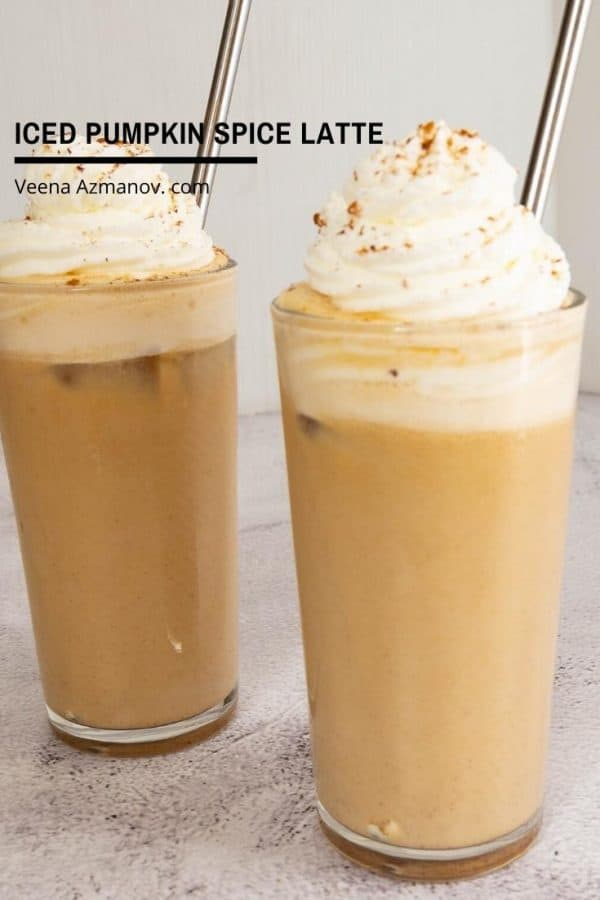 How to make a iced latte with pumpkin spice and pumpkin puree