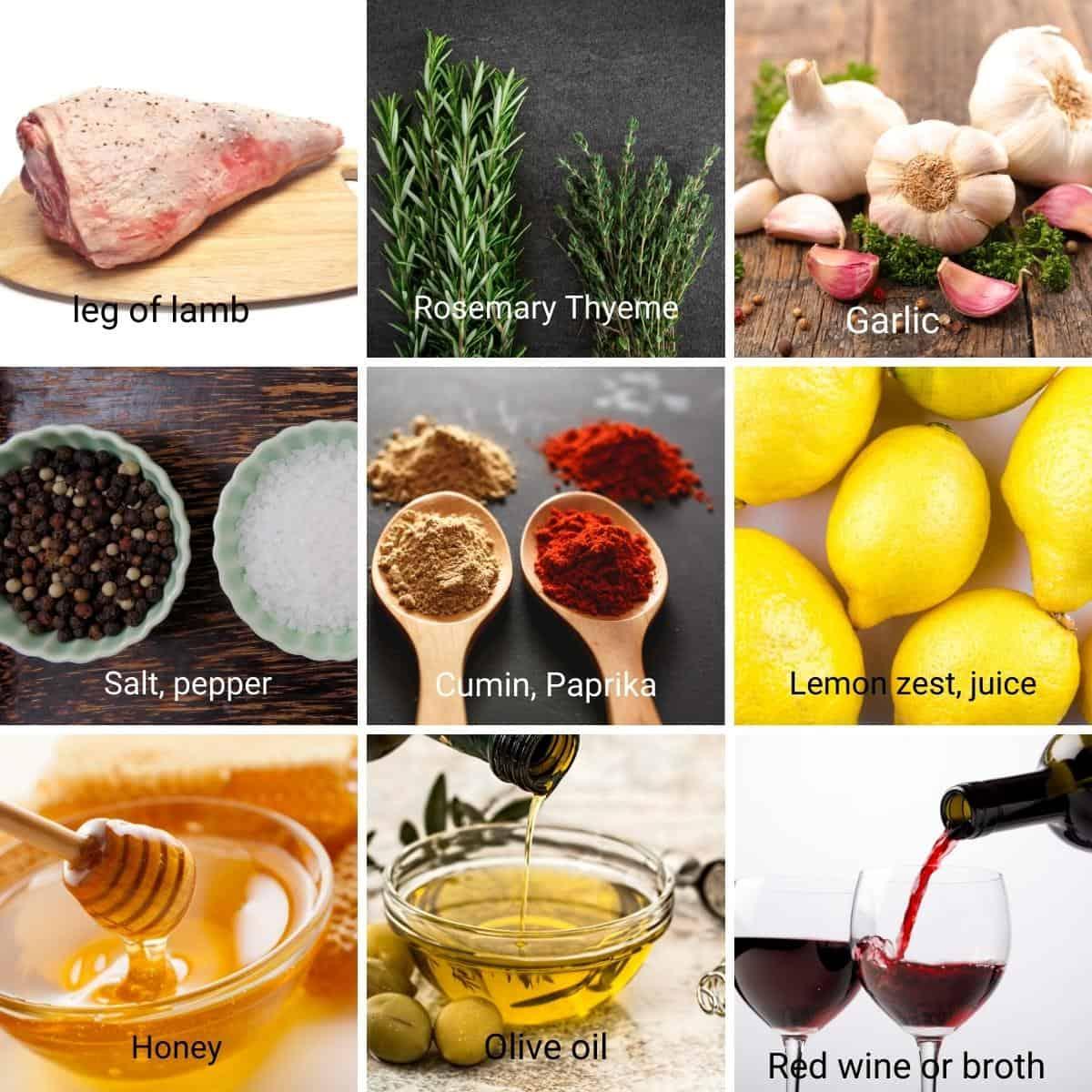 Ingredients for boneless leg of lamb.