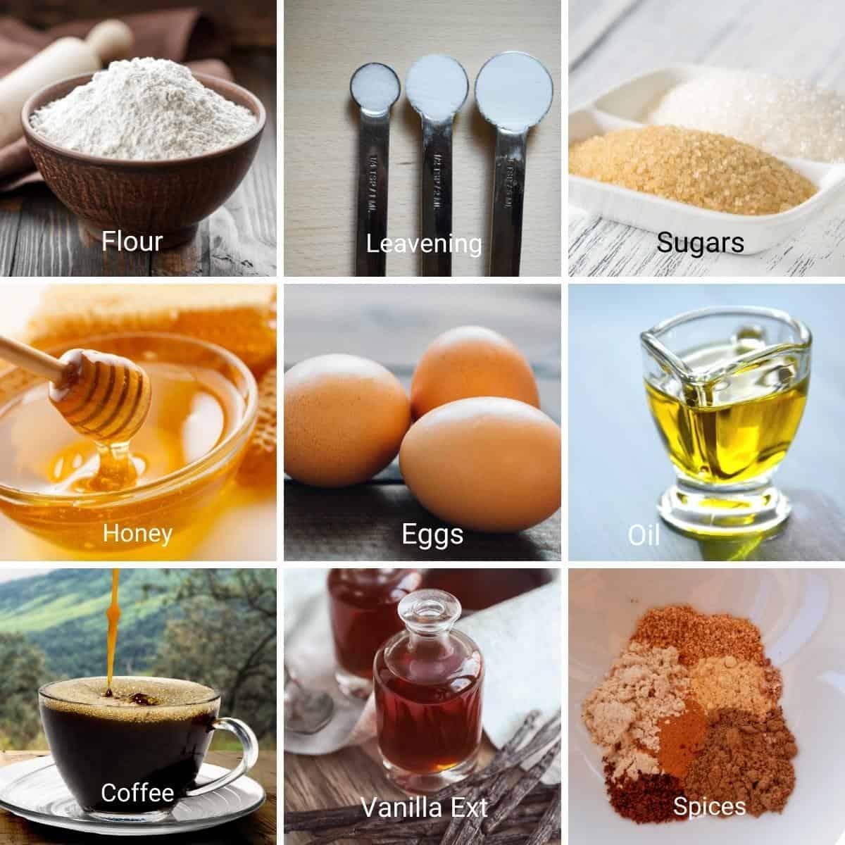 Ingredients for honey cakes recipe.