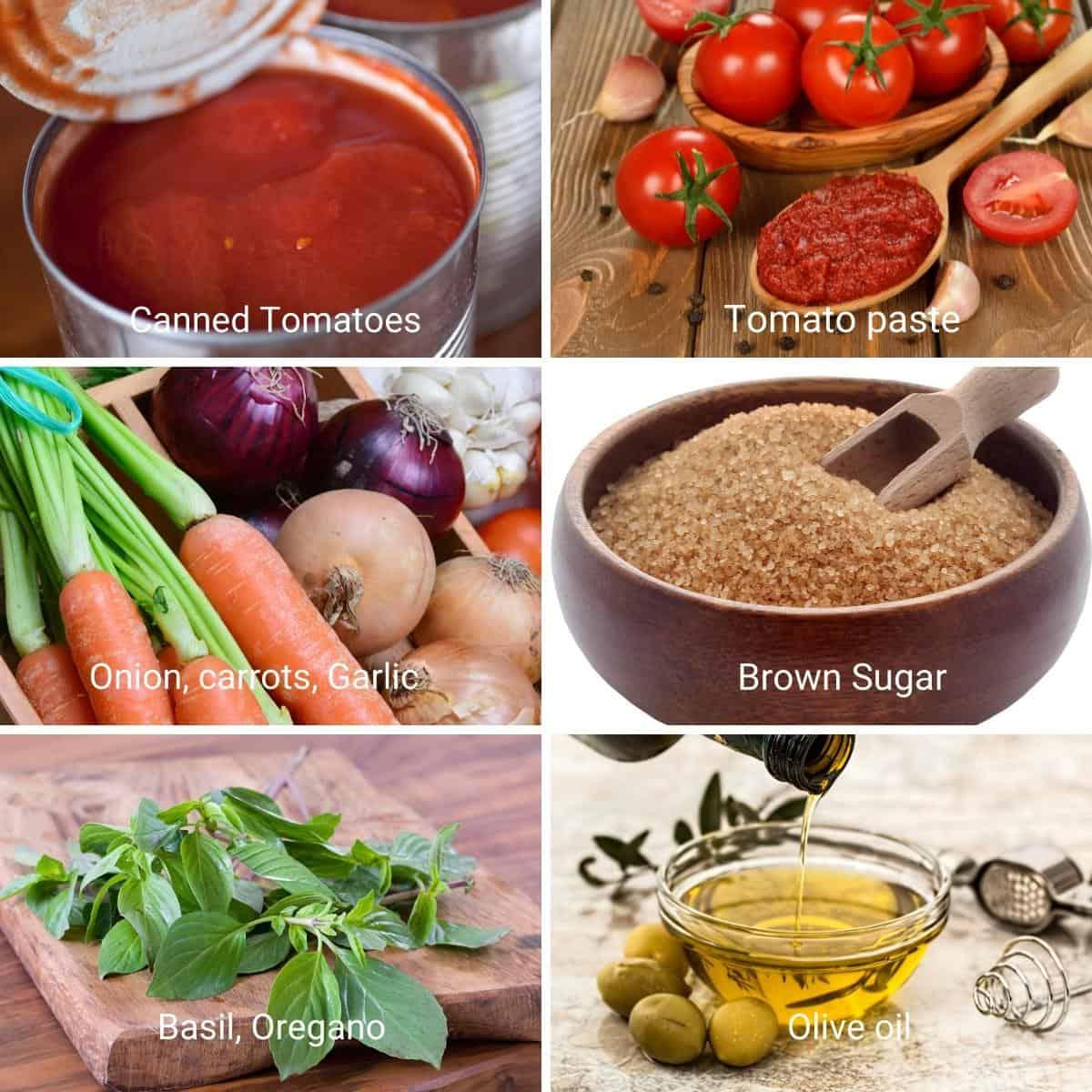 Ingredients to make homemade marinara.