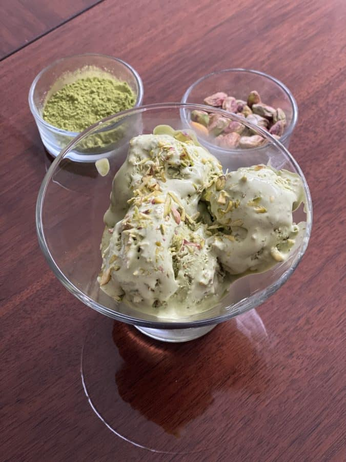 A bowl with pistachio macha ice cream.