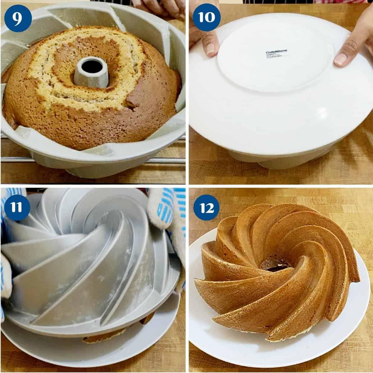 Progress pictures collage inverting the bundt honey cake.