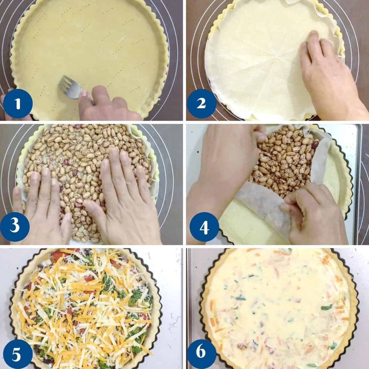 Progress pictures collage showing how to bake a quiche crust.