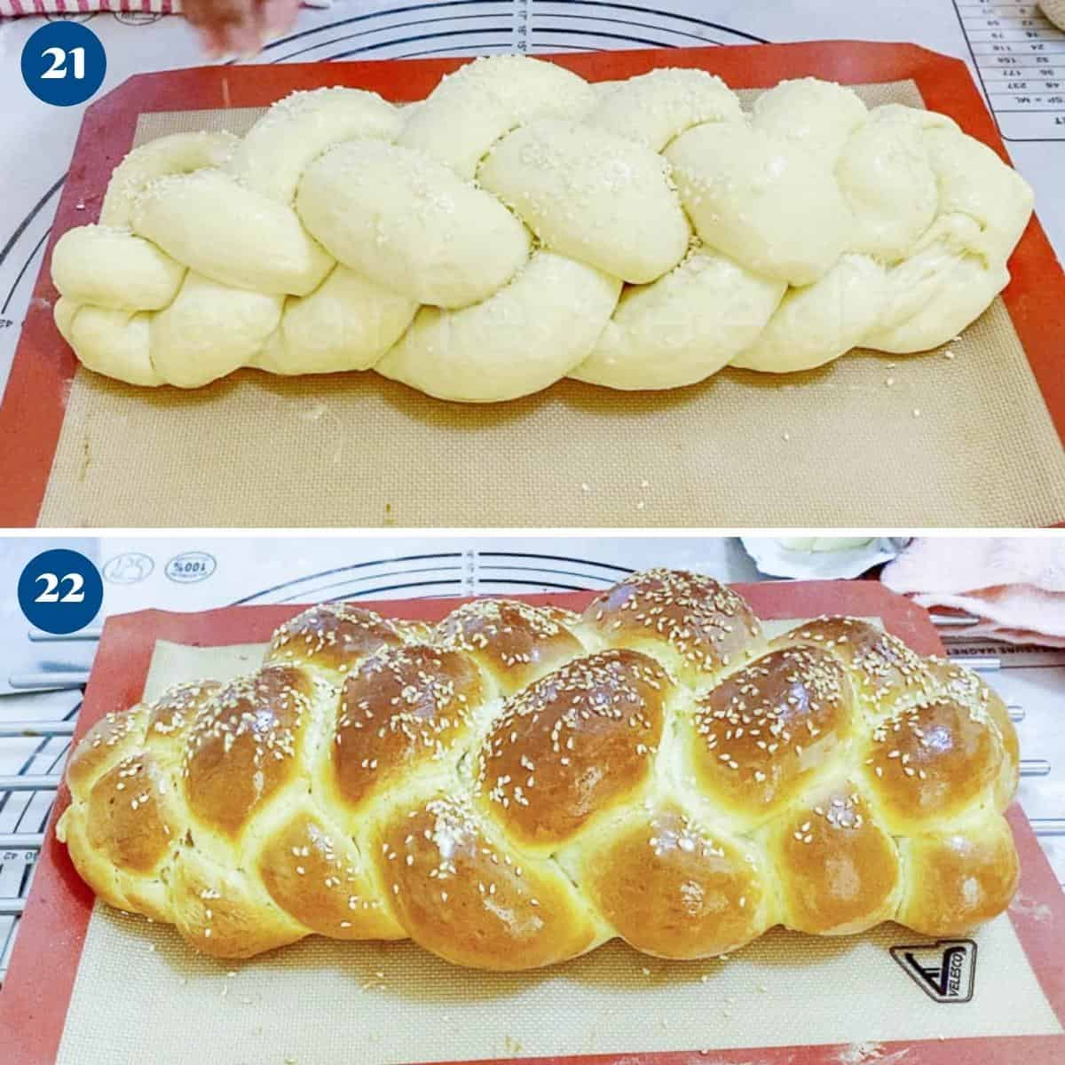 Progress pictures collage for six braided challah.