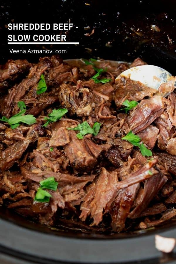 How to make beef in a slow cooker then shred it to make other recipes.