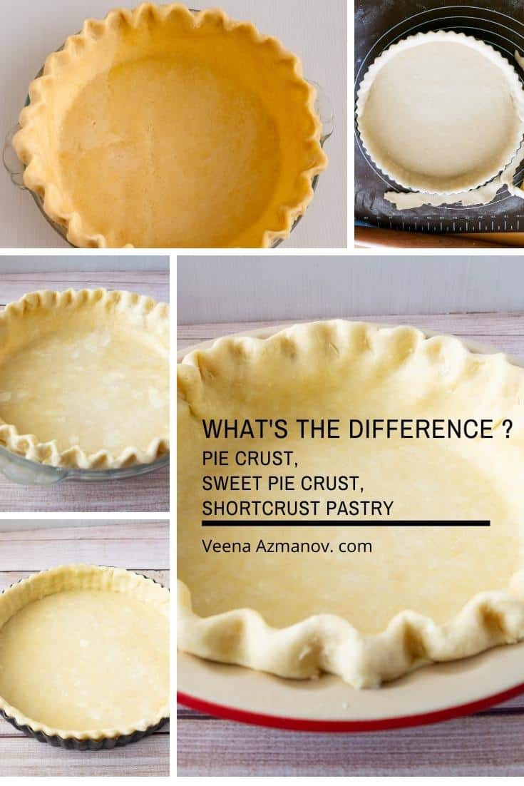 Are you confused between the different types of crust for pies and tarts? Wonder which to use and when? Well, in today's lesson we learn the difference between the crust and when to use them #piecrust #sweetpiecrust #tartcrust #shortcrust #typesofcrust #typesofpastry#pastrybaking #howtopastry via @Veenaazmanov