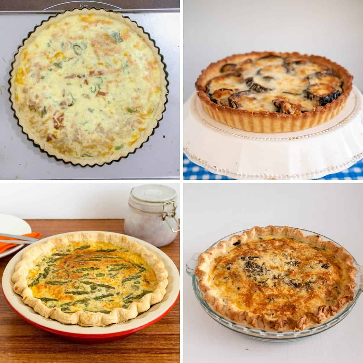 Four quiches made in different quiche pans.