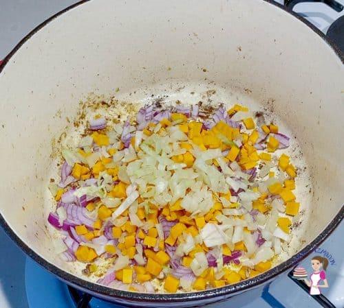saute the veggies in oil until translucent