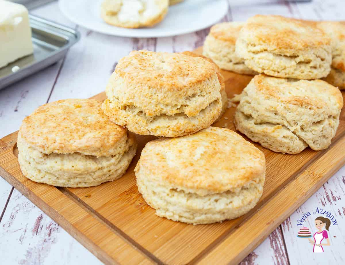 a stack of biscuits on a wooden board