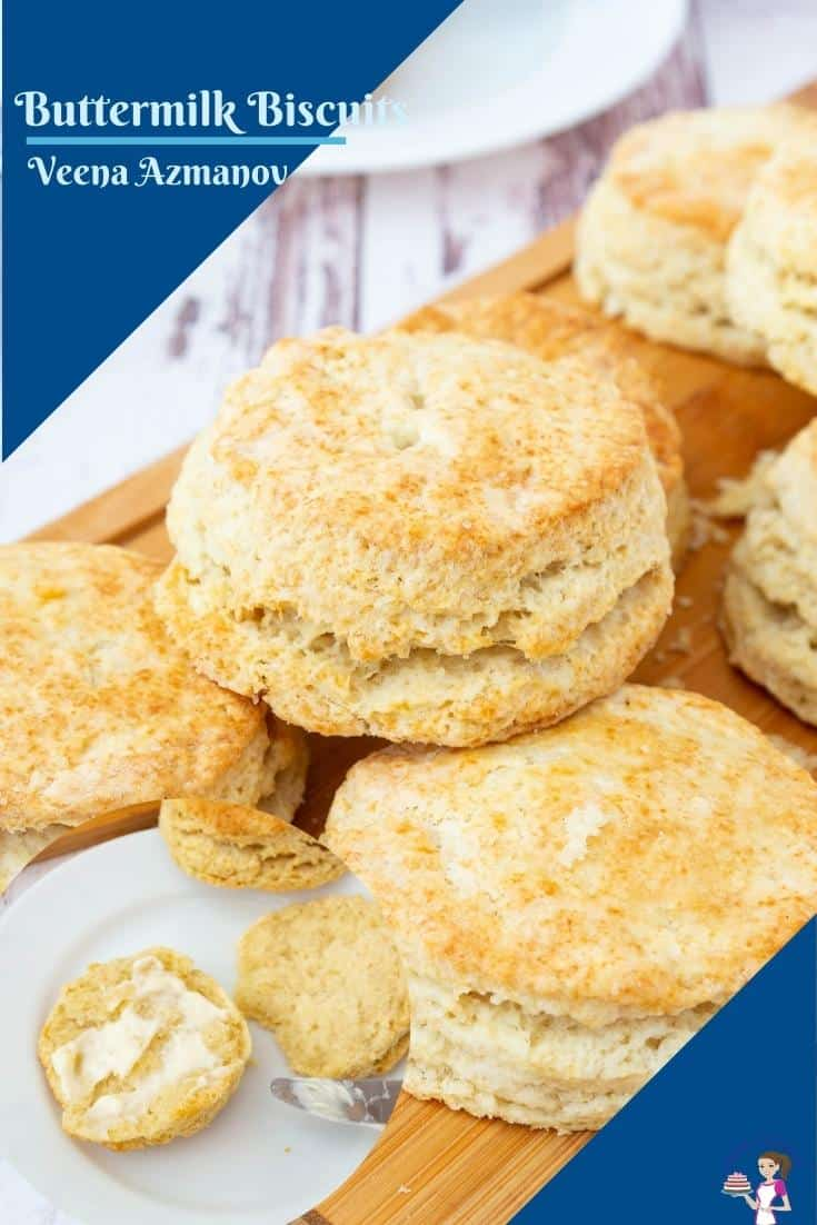 These buttermilk biscuits are buttery, flaky, and soft with lots of wonderful layers. Perfect with butter and jam as well as with soups and stews. The recipe is simple and easy with 15 minutes of prep time and 15 minutes of baking time #biscuits #buttermilk #baking #buttermilkbiscuits #scones #biscuitrecipe #biscuitsfromscratch #breakfastbiscuits #breakfastrecipes #flakybiscuits via @Veenaazmanov