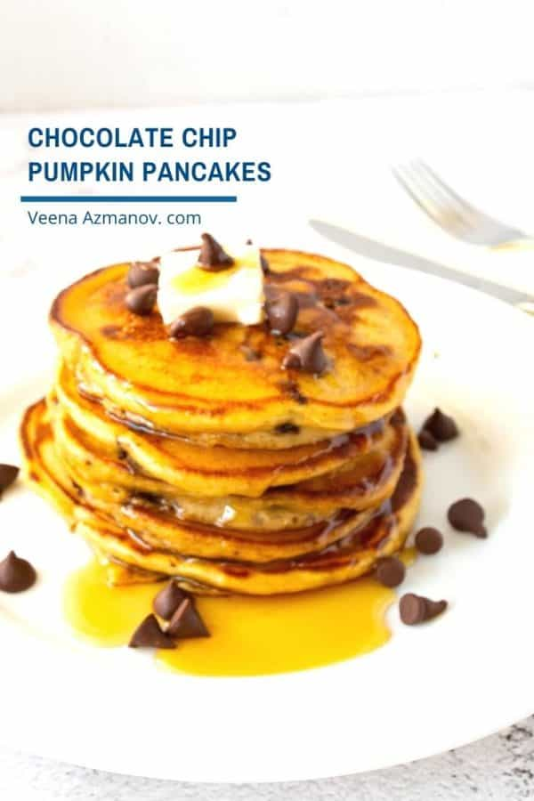 Pinterest image for stacked pancakes