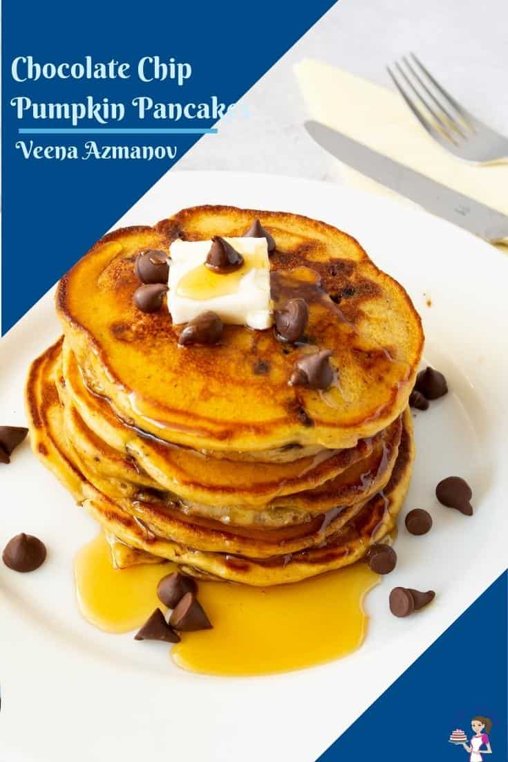 Today, I added chocolate chips to my classic pumpkin pancakes to make the irresistible chocolate chip pumpkin pancakes. Made with pumpkin puree and pumpkin spice these are kids-approved and perfect any time of the day. #pumpkinpancakes #chocolatechip #chocolatechippumpkinpancakes #pumpkin #pancakes #chocolatechippancakes #fallrececipes #breakfastpancakes #breakfastrecipes via @Veenaazmanov
