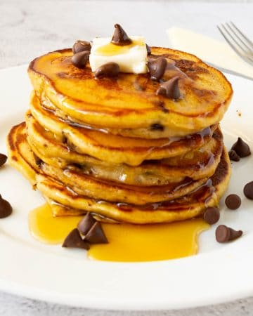 Stack of pancakes with chocolate chips