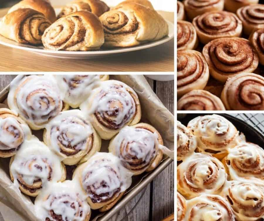 Collage of cinnamon roll pictures