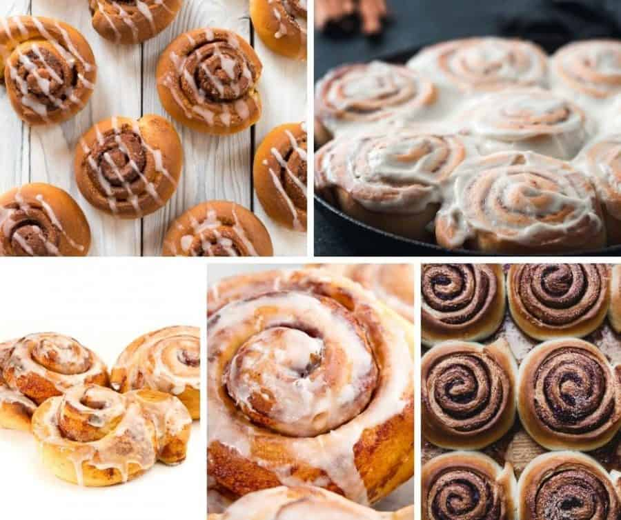 A collage of different Cinnamon rolls and Glaze