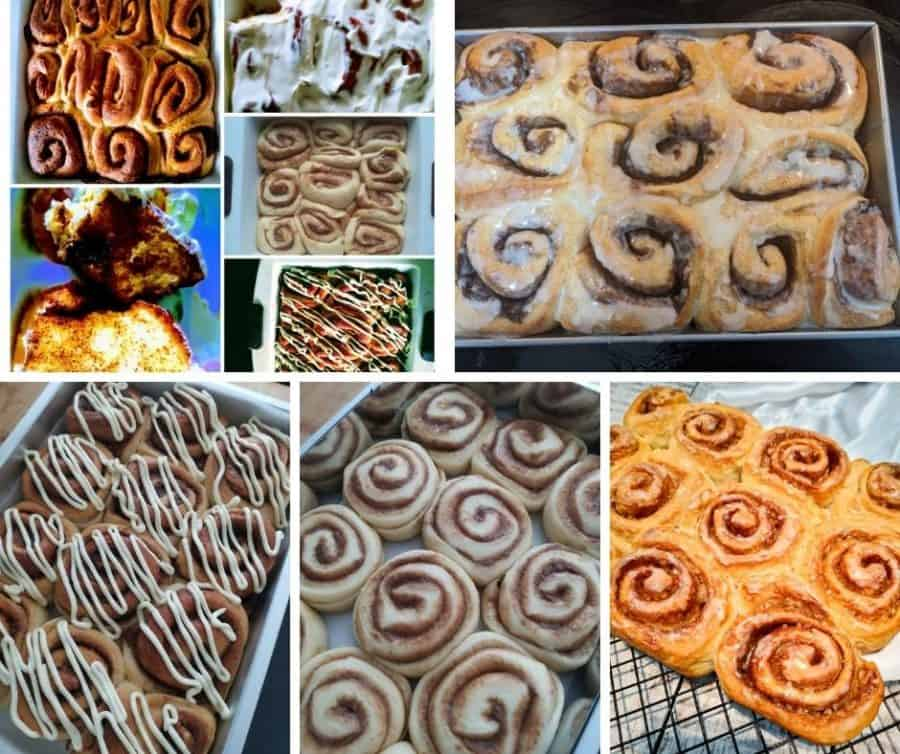 A collage with different types of food, with Cinnamon roll