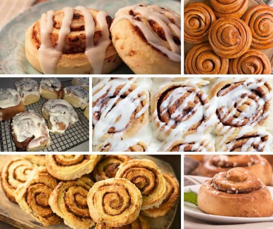 A collage of different types of cinnamon rolls