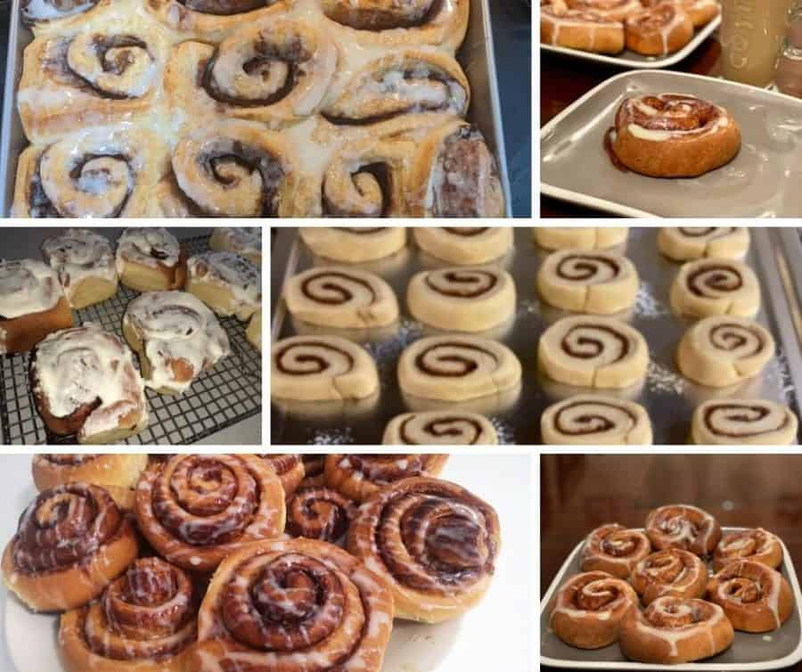 A collage with different kinds of cinnamon rolls