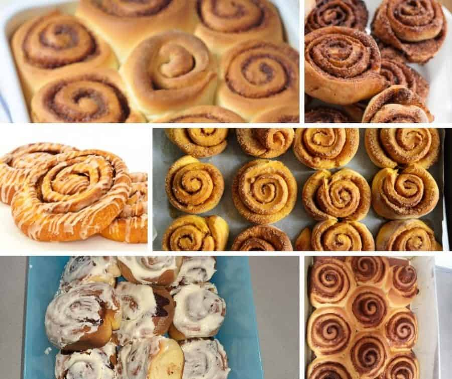 A collage of cinnamon roll pictures