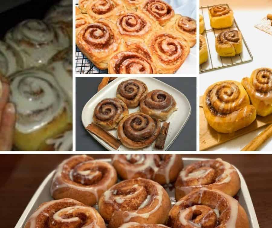 A collage with different cinnamon rolls pictures