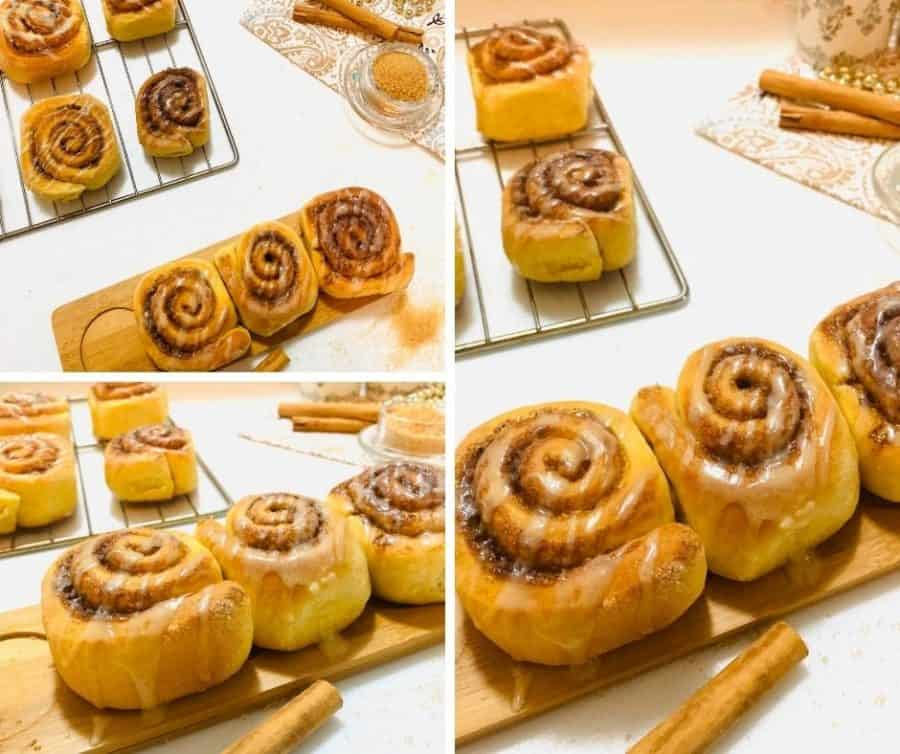 Collage of cinnamon rolls from the winner