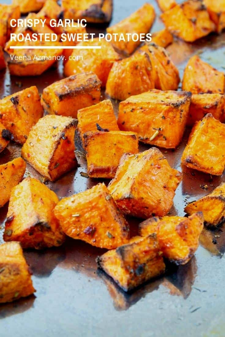 These roasted sweet potatoes have crisp caramelized edges with soft insides. The recipe is simple and easy to make in less than 30 minutes. Perfect to serve as a sided dish with main courses or in burritos and wraps #sweetpotato #roastedsweetpotato #potato #sidedish #appetizers #baked  via @Veenaazmanov
