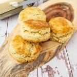Biscuits stacked on a wooden board