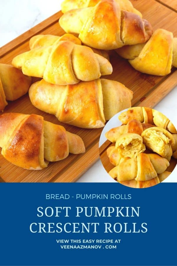 Pinterest image for crescents with pumpkin puree.