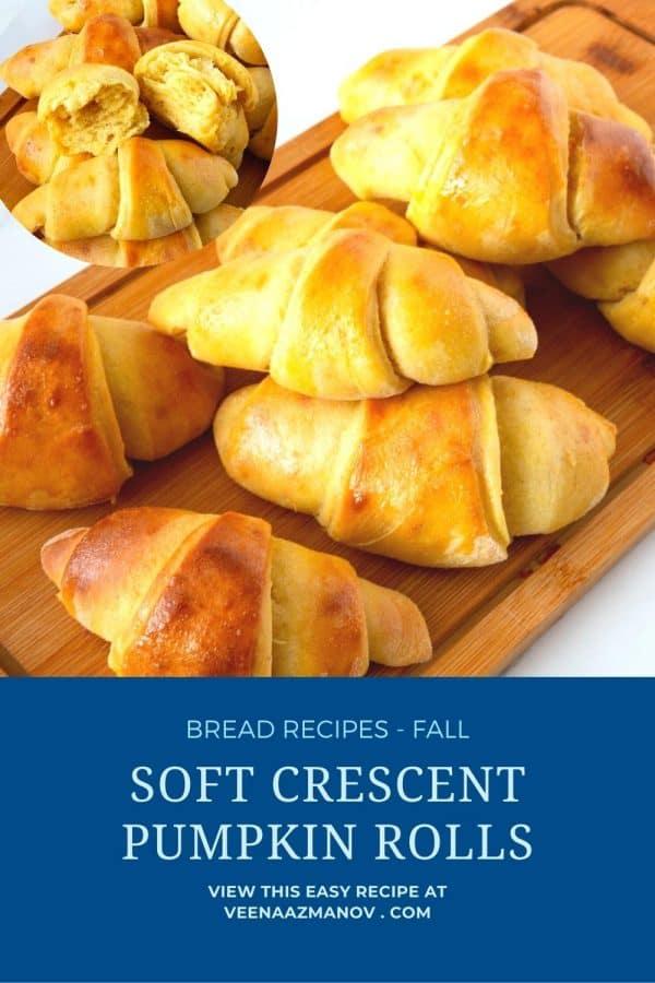 Pinterest image for pumpkin crescents rolls.