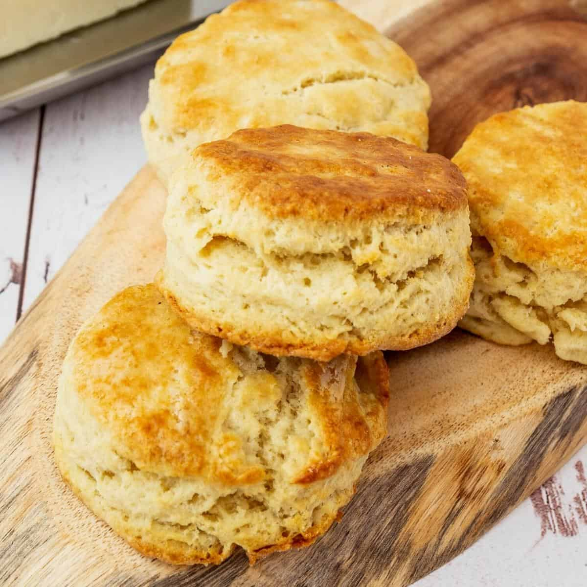 Homemade from scratch biscuits on a table.