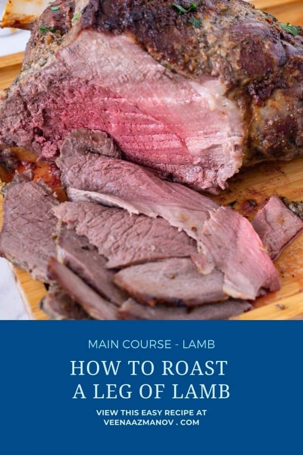 Pinterest image for roast lamb leg.