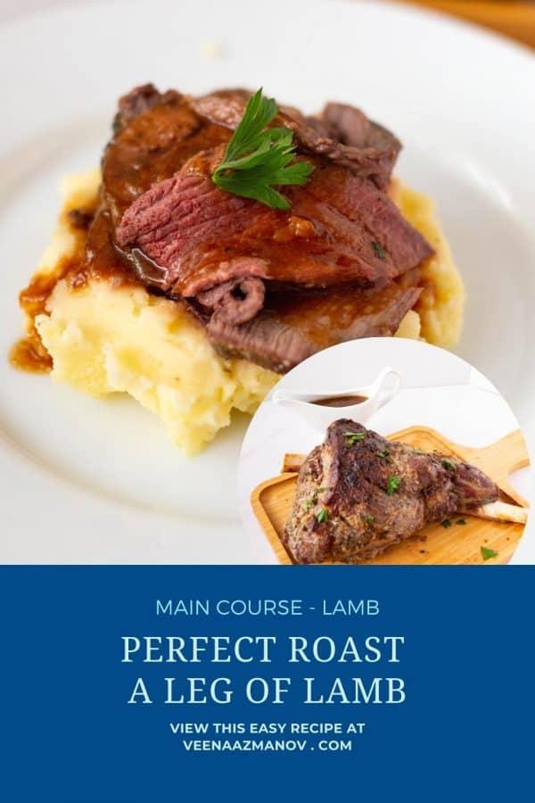 Pinterest image for leg roast of lamb.