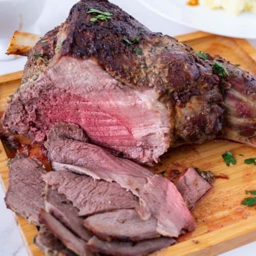 A sliced leg of lamb.