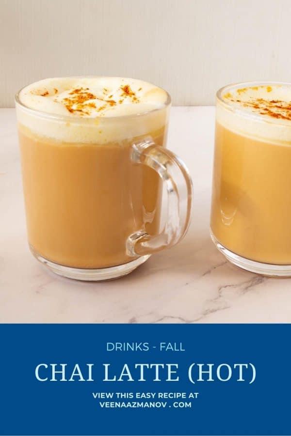 Pinterest image for chai latte.