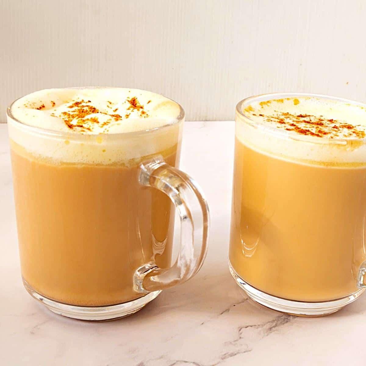 Chai tea latte using chai spice in a cup.