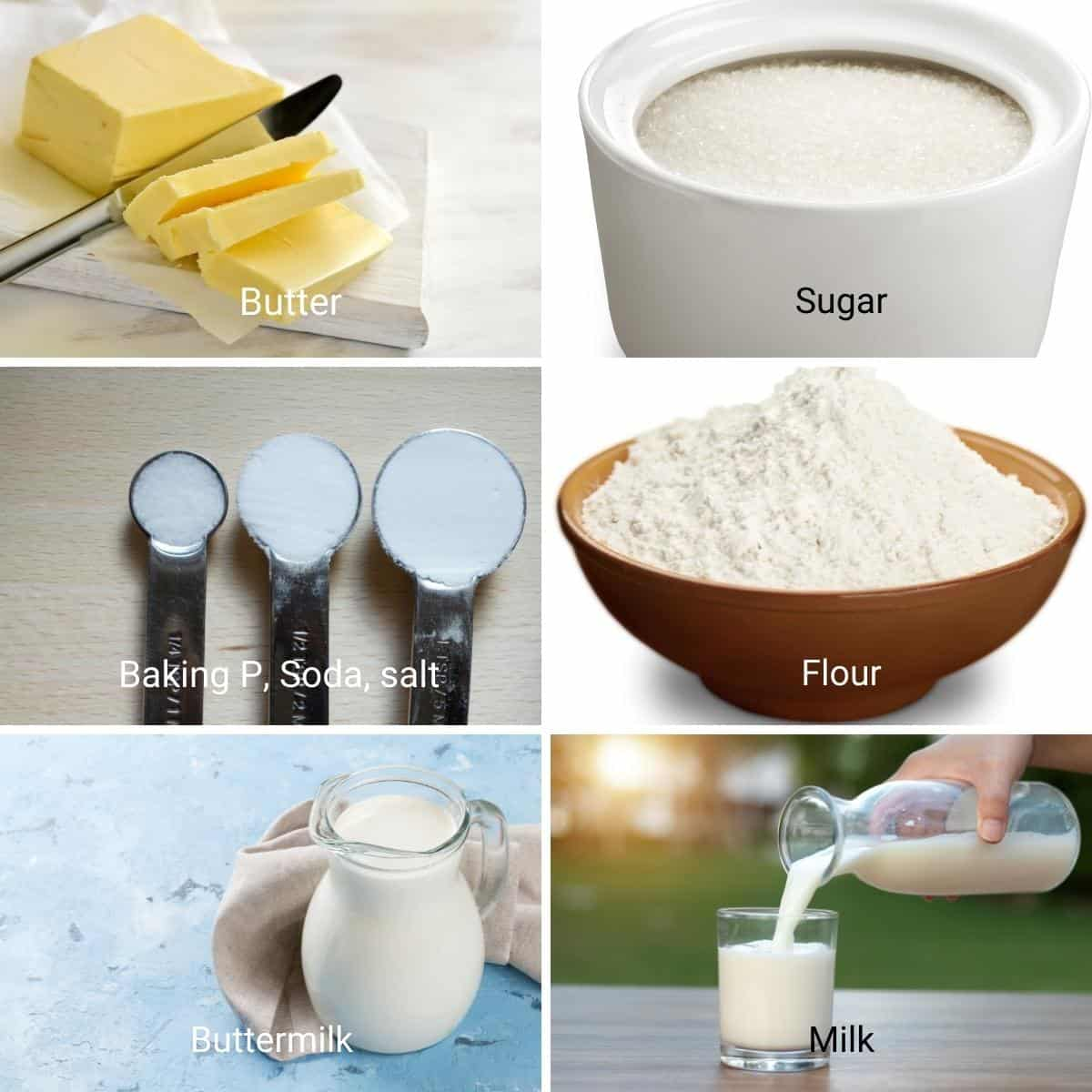 Ingredients to make buttermilk biscuits.