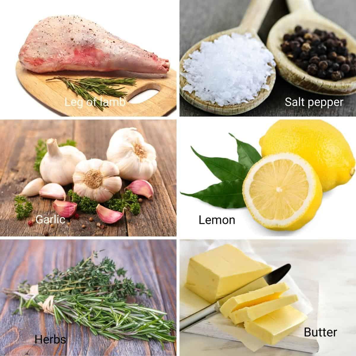 Ingredients for leg of lamb.