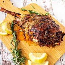 Lamb leg on a serving platter.