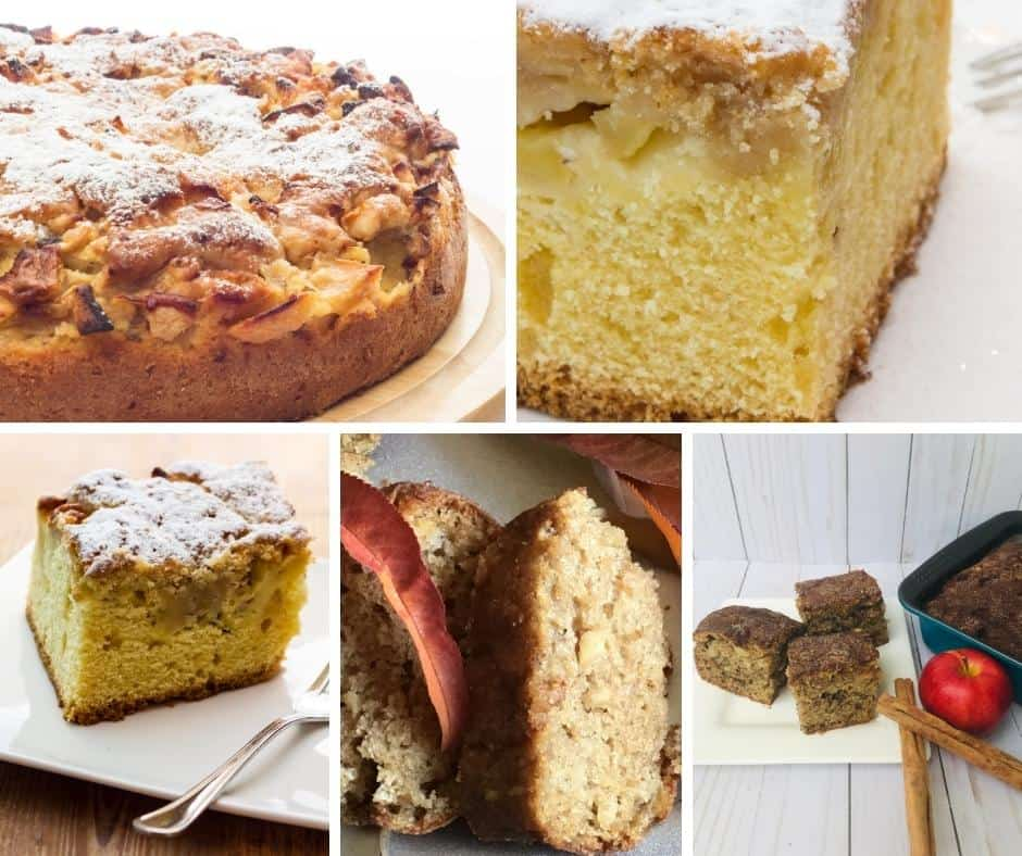 collage of images for the apple cake